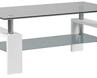 duehome Mesa Centro Moderna de Cristal, Patas lacadas Color Blanco Bri...