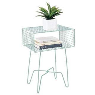 mDesign Mesita auxiliar de metal pequeña - Elegante mesa auxiliar vint...