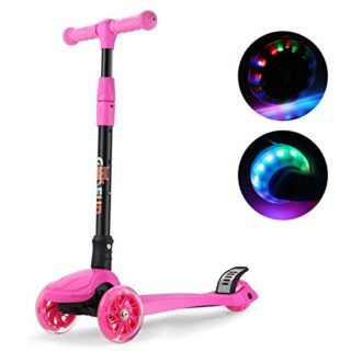 GOSFUN Scooter 3 ruedas con luces LED, diseño de scooter plegable para niños ...