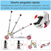 Scooter plegable AMDirect con luces LED de 2 ruedas Manillar ajustable ...