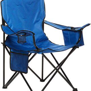 AmazonBasics - Silla de camping con enfriador, Azul (Acolchada, XL)
