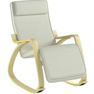 SoBuy Silla de relax, mecedora (reposapiernas ajustable), sillón de re...