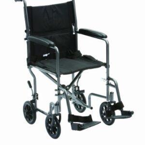 Drive Medical TR-39ESV - Silla de ruedas de viaje (acero, 48,2 cm)