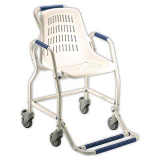 Obea - Silla de ducha con ruedas, 91 x 64 x 60 cm, blanco