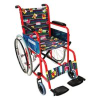 Silla de ruedas para niños, Plegable, Ruedas grandes, Reposapiés, Rojo ...