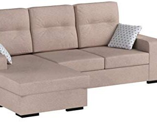 Mueble Sofa ChaiseLongue, MONTADO DE FABRICA, 3 plazas, Color Beige, c...