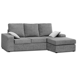 Mueble Sofa ChaiseLongue, MONTADO DE FABRICA, Tres plazas, Color Gris,...