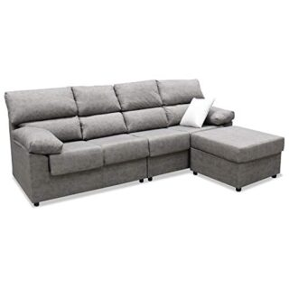 Mueble Sofa ChaiseLongue, Subida Domicilio, Cuatro plazas, Color Gris,...