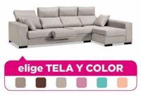 Muebles Baratos Sofa Chaise Longue, 4 plazas, Tapizado al Gusto, Subid...