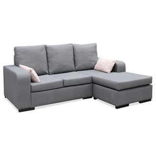 Muebles Baratos Sofa ChaiseLongue, Montado, Color Gris, 3 plazas, Anti...