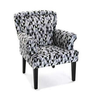 Versa 19501329 Sillón tapizado Rhune, 89x71x72 cm, Gris y Negro,  Buta...