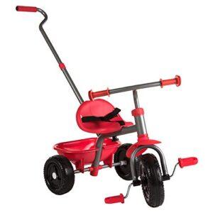 ColorBaby - Triciclo con asa extensible, color rojo (43451)
