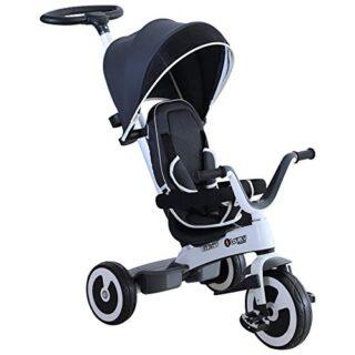 HOMCOM Triciclo de bebé plegable 4 en 1 Trolley Trike Bicicletas para niñas ...
