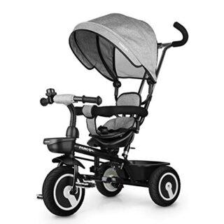 Triciclo de bebé Fascol 7 en 1 con asiento giratorio y ruedas de goma, ...