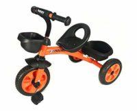 Triciclo de pedal de 3 ruedas para niños, en naranja, con cesto delantero y trasero ...