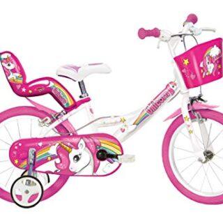 """Dino Bikes 144R-UN Bicicleta de ciudad 35,6 cm (14 """") Acero rosa, blanco ..."""