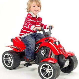 Falk 600 Pirate - Motocicleta de 4 ruedas para niños, color rojo