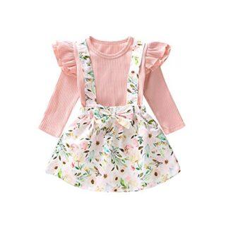 0-6T - Conjunto de Vestido de Manga Larga con Falda Floral para bebé -...