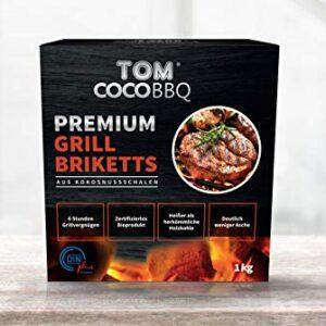 TOM COCO Tom CocoBBQ - Briquetas de Coco para Barbacoa, Color Negro