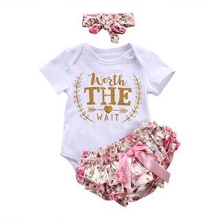 Counjunto de Ropa bebé niña Verano Recién Nacido bebé niñas Carta Flor...