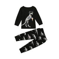 K-youth® Ropa Niños Dinosaurio Huesos patrón Camiseta Manga Larga + Pa...