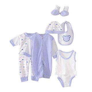 Per 8 piezas Conjuntos de ropa para bebé Canastilla de algodón Traje d...