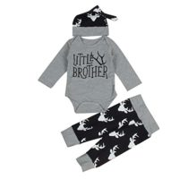 Puseky 3pcs Baby Big/Little Brother Reindeer Letter Romper + Pants + H...