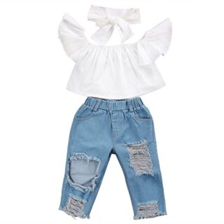 Ropa bebé niña Infantil Tops sin Hombros para bebés + Pantalones Vaque...