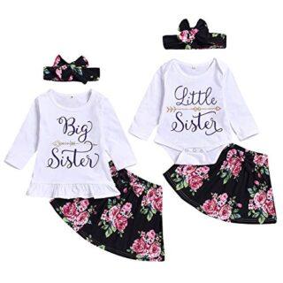puseky bebé niñas pequeña Hermana Grande Trajes a Juego Camisa de Mang...