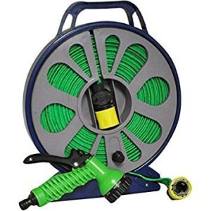 15M LAY FLAT HOSE IN CASSETTE WITH MULTI SPARY GUN AND FITTINGS LIGHT ...