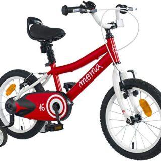 """Moma Bikes - Bicicleta para niños de 16 """"con ruedas incluidas, Rojo, Alto ..."""