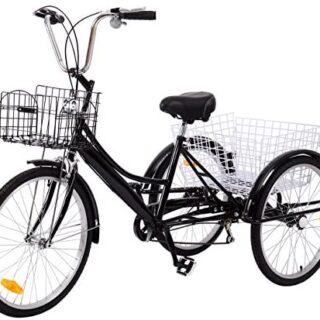 Bicicleta de tres ruedas Ridgeyar de 24 pulgadas y seis velocidades ...