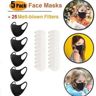 Zeeanker - 5 mascarillas antipolvo, mascarilla facial con 20 filtros ...