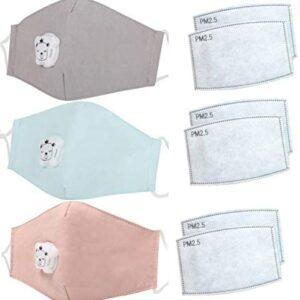 3 máscaras bucales para niños con válvula de respiración + 6 filtros d ...