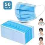 50 piezas Mascarilla,Máscaras faciales Protectoras Desechables de 3 Ca...