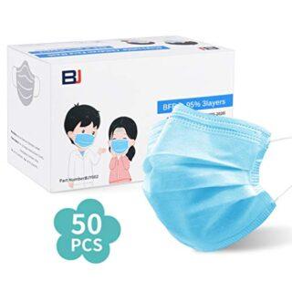 50 piezas tamaño de cara libre desechable azul 3-PLY para niños (6-14 años ...