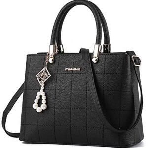 BestoU Bags Bolso de hombro para mujer Shopper Tote PU LEATHER Bag (Negro)