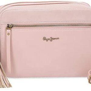 Bolso bandolera con doble cremallera rosa Bitmat de Pepe Jeans