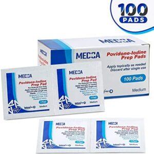(Box of 100 Count) Iodine Prep Solution Pads, 10% Povidone Iodine Swab...