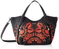 Desigual Bag Gemini Rotterdam, Bolso de hombro para Mujer, negro y rojo