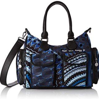 Desigual Bag Rep Blue FRIEN, Bolso de hombro para Mujer, negro / azul