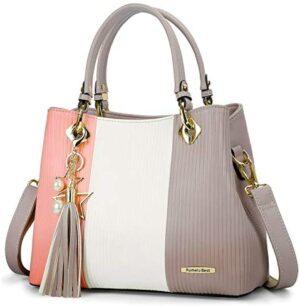 Los mejores bolsos de pomelo de mujer, la bolsa de asas de señora Multicolor Stripes PU ...
