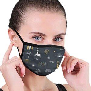 Máscara de boca antipolvo unisex Navidad estilizada copos de nieve Clos ...