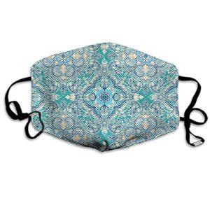 Máscaras falsas con diseño floral en crema y azul con oreja ...