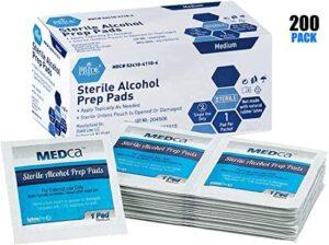 MEDca Alcohol Prep Pads, Estéril, Mediano, 2-Ply PACK OF 200