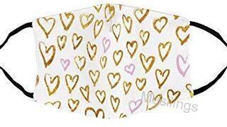 Mascarilla unisex con diseño de corazones de color rosa dorado, es ...