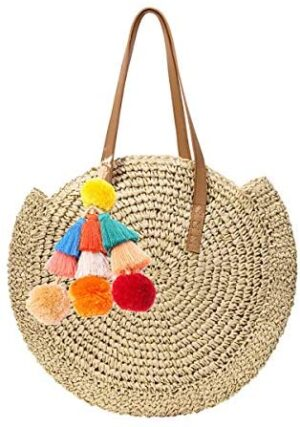 Mini Cute Bolso tejido de paja para mujer Bolso de playa de verano Bol...