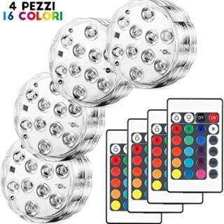 Kohree 4 x Luces Sumergibles LED Bajo El Agua Luz con mando a distanci...