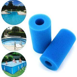 Lifreer 2 filtros de piscina reutilizables y lavables de espuma para b...