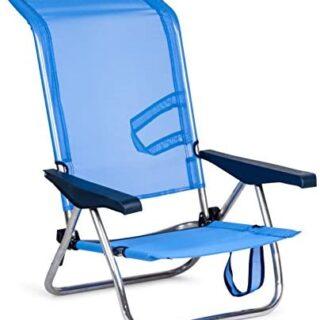 Solenny 50001072720095 -  Silla Playera-Cama 4 Posiciones  Azul con As...